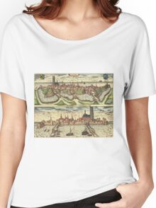 Harderwijk Vintage map.Geography Netherlands ,city view,building,political,Lithography,historical fashion,geo design,Cartography,Country,Science,history,urban Women's Relaxed Fit T-Shirt