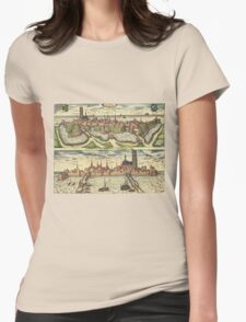Harderwijk Vintage map.Geography Netherlands ,city view,building,political,Lithography,historical fashion,geo design,Cartography,Country,Science,history,urban Womens Fitted T-Shirt