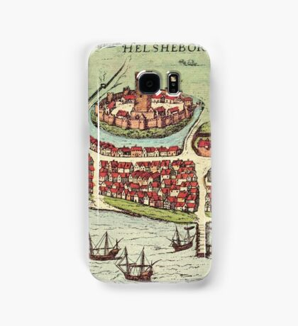 Helsinborg Vintage map.Geography Sweden ,city view,building,political,Lithography,historical fashion,geo design,Cartography,Country,Science,history,urban Samsung Galaxy Case/Skin