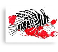 Lion fish on red background Canvas Print