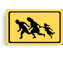 Running Family / Running Immigrants Sign Canvas Print
