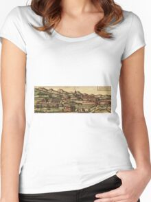 Kassel Vintage map.Geography Germany ,city view,building,political,Lithography,historical fashion,geo design,Cartography,Country,Science,history,urban Women's Fitted Scoop T-Shirt