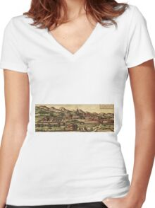 Kassel Vintage map.Geography Germany ,city view,building,political,Lithography,historical fashion,geo design,Cartography,Country,Science,history,urban Women's Fitted V-Neck T-Shirt