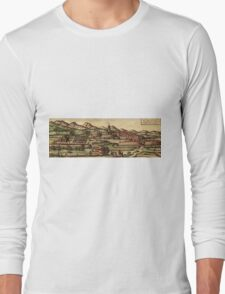 Kassel Vintage map.Geography Germany ,city view,building,political,Lithography,historical fashion,geo design,Cartography,Country,Science,history,urban Long Sleeve T-Shirt