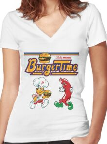 Burgertime Arcade Game  Women's Fitted V-Neck T-Shirt
