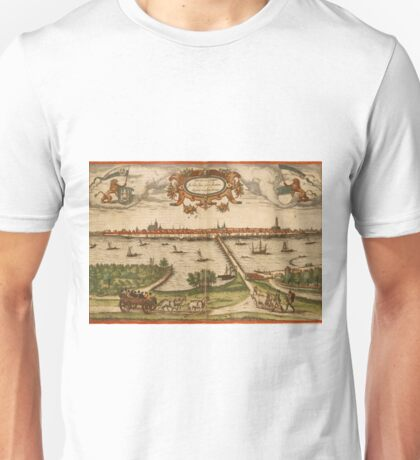 Kampen Vintage map.Geography Netherlands ,city view,building,political,Lithography,historical fashion,geo design,Cartography,Country,Science,history,urban Unisex T-Shirt