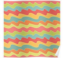 Retro colorful wave pattern. Pop seamless background.  Poster