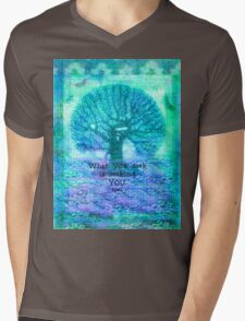 RUMI What you seek is seeking you - Quote with tree art Mens V-Neck T-Shirt