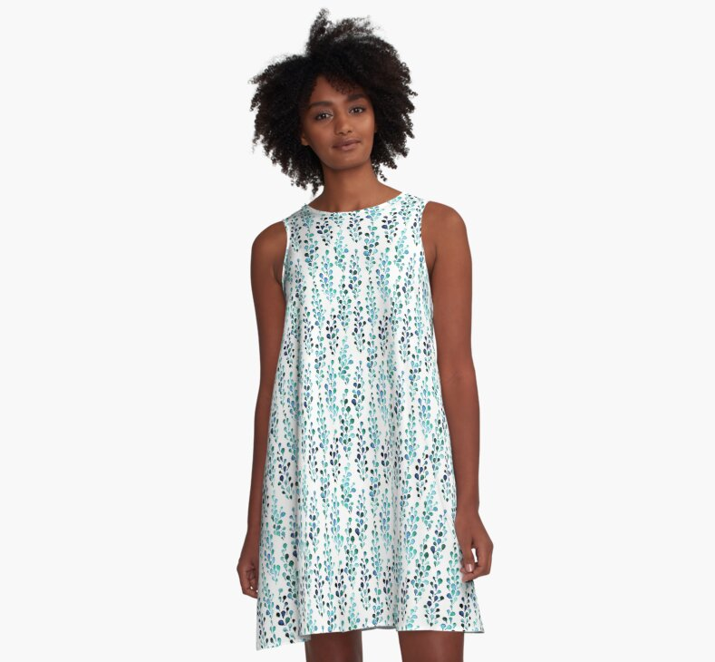 Turquoise foliage A-Line Dress by Dariank on Redbubble