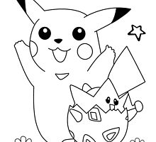Pikachu and Togepi Black and White by Benjamin Warren