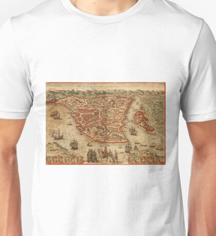 Istanbul Vintage map.Geography Turkey ,city view,building,political,Lithography,historical fashion,geo design,Cartography,Country,Science,history,urban Unisex T-Shirt