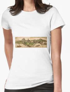 Iraklion Vintage map.Geography Greece ,city view,building,political,Lithography,historical fashion,geo design,Cartography,Country,Science,history,urban Womens Fitted T-Shirt