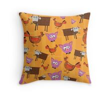 Chickens Telling Secrets Throw Pillow