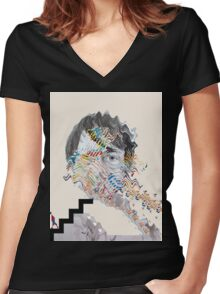 Painting With (Panda Bear) Women's Fitted V-Neck T-Shirt