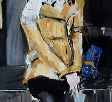 Contemporary Woman With Umbrella Tan Leather Jacket Acrylic Painting  by JamesPeart