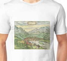 Innsbruck Vintage map.Geography Austria ,city view,building,political,Lithography,historical fashion,geo design,Cartography,Country,Science,history,urban Unisex T-Shirt