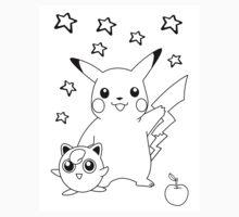 Black and White Pikachu and Jigglypuff by Benjamin Warren
