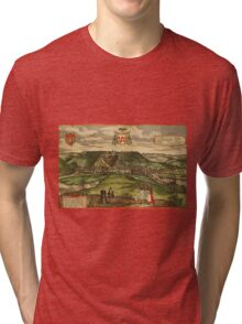 Huy Vintage map.Geography Belgium ,city view,building,political,Lithography,historical fashion,geo design,Cartography,Country,Science,history,urban Tri-blend T-Shirt