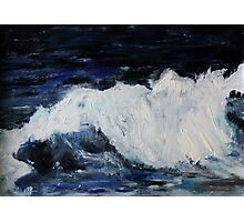 Ocean Waves Seascape Acrylic Painting On Paper Photographic Print