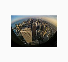 Fisheye overview of Chicago Skyline  Unisex T-Shirt