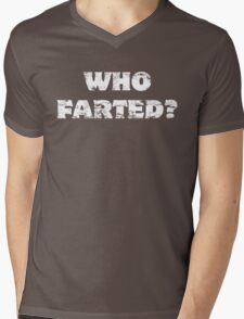 Who Farted? White Text Mens V-Neck T-Shirt