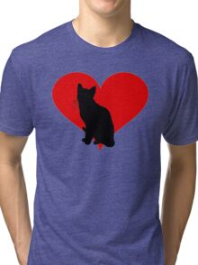 Cat with heart Tri-blend T-Shirt