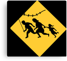 Running Immigrant Family Flying a Kite  Canvas Print