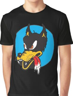 Rockabilly Cartoon Wolf Graphic T-Shirt