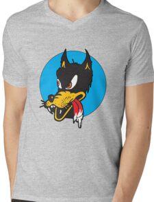 Rockabilly Cartoon Wolf Mens V-Neck T-Shirt