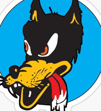 Rockabilly Cartoon Wolf Sticker