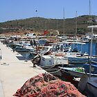 Red Fishing Net and Fishing Boats in Datca by taiche