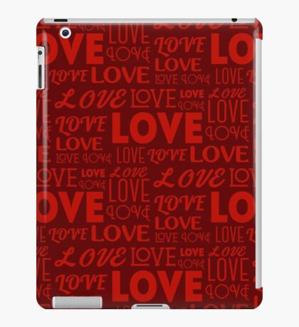 Repeating word Love in different fonts. Seamless background. Valentine's Day concept.  iPad Case/Skin