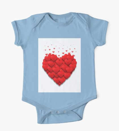 Little hearts form a big heart. Valentine's day concept.  One Piece - Short Sleeve