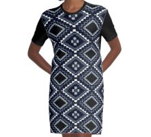 Navajo Blue Graphic T-Shirt Dress