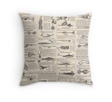 Fishing Lures Vintage Newsprint Advertising Antique Throw Pillow