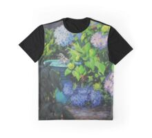 Birdbath and Blossoms Graphic T-Shirt