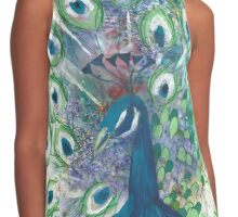 Peacock Painting Contrast Tank
