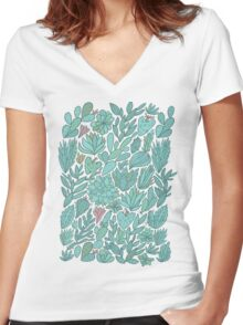 Cacti and Succulents Women's Fitted V-Neck T-Shirt