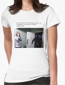 MC Ride Walks into door  Womens Fitted T-Shirt