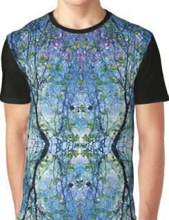 Abstract Trees in Blue Graphic T-Shirt