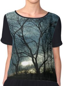 Blue & Yellow Color Sky Sunset Tree Silhouette Chiffon Top