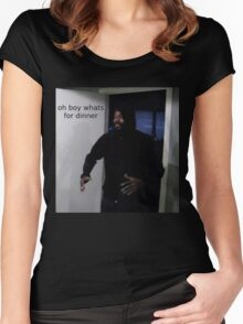 "MC ride walking into a door saying ""oh boy whats for di Women's Fitted Scoop T-Shirt"