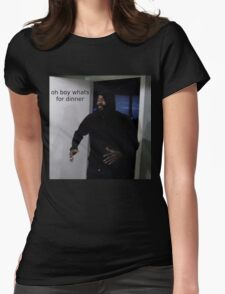 """MC ride walking into a door saying """"oh boy whats for di Womens Fitted T-Shirt"""