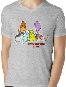 Catventure Time Mens V-Neck T-Shirt