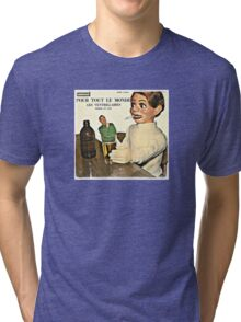 Vintage Record Smoking Puppet Tri-blend T-Shirt
