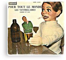 Vintage Record Smoking Puppet Canvas Print