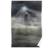 Foggy landscape with dark tower Poster