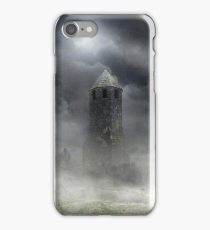 Foggy landscape with dark tower iPhone Case/Skin