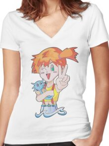 Misty and Horsea Women's Fitted V-Neck T-Shirt