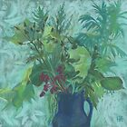 """""""Sonchus and mugwort"""" pastel painting in green shades by clipsocallipso"""